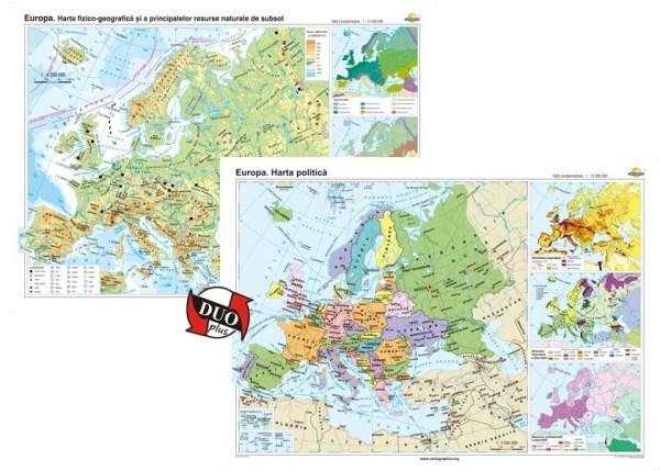 Europa. Harta fizico-geografica si a principalelor resurse naturale de subsol si Europa. Harta politica 3