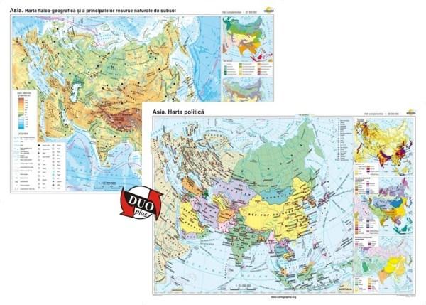 Asia. Harta fizico-geografica si a principalelor resurse naturale de subsol si Asia. Harta politica 3