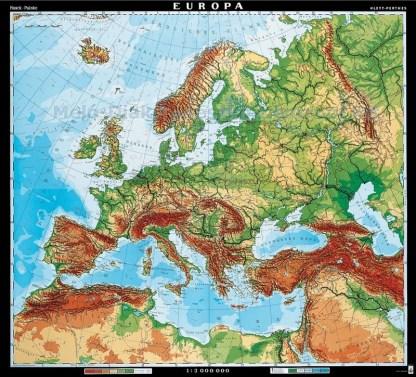 Europa - harta fizica - limba germana