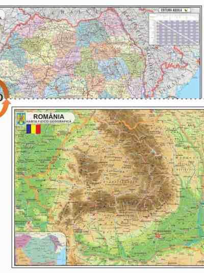 Harta fizica si administrativa a Romaniei