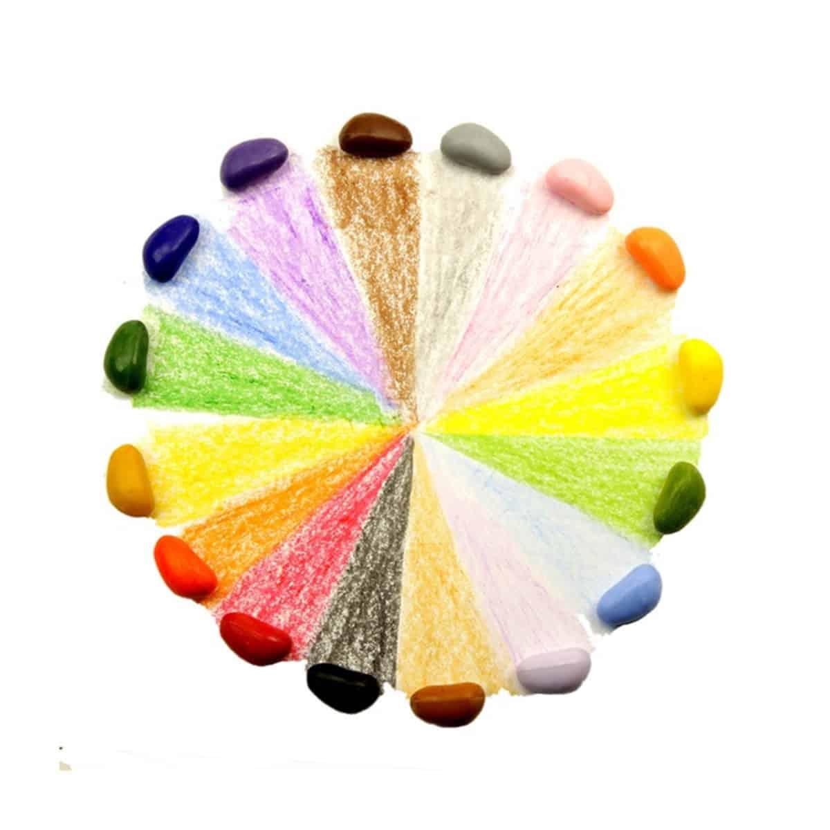 Set de 16 creioane cerate in forma de pietricele