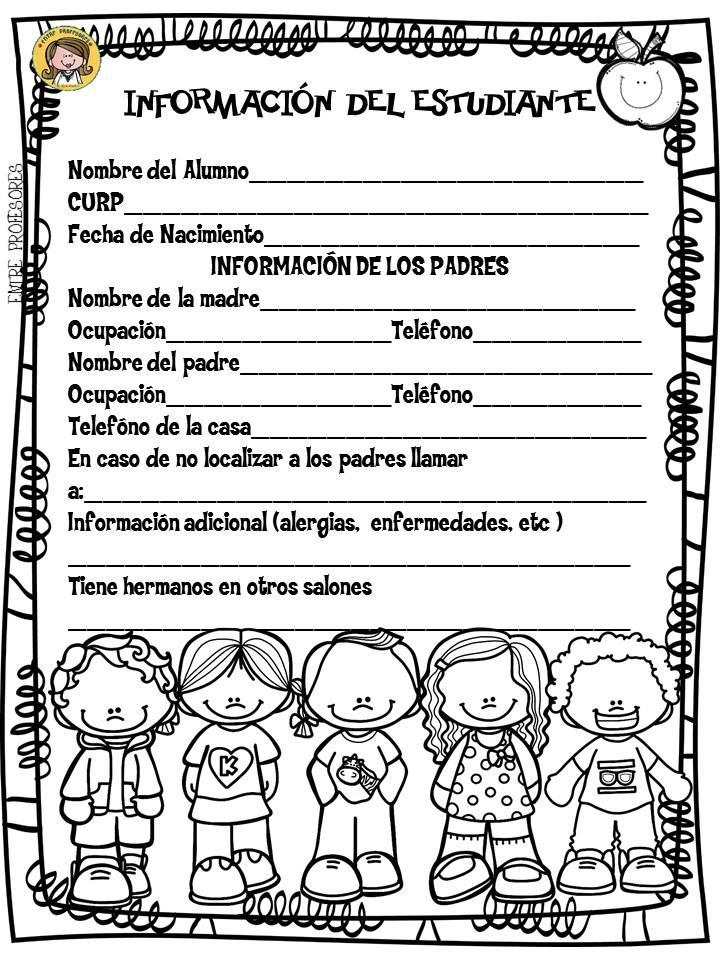 Ficha De Informacin Del Estudiante Material Educativo