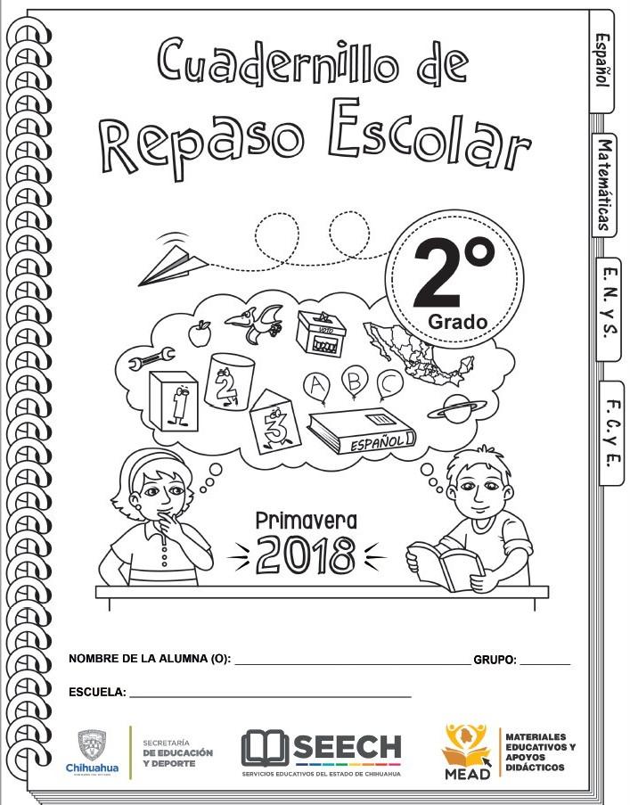 Cuadernillo de repaso escolar de segundo grado de primaria