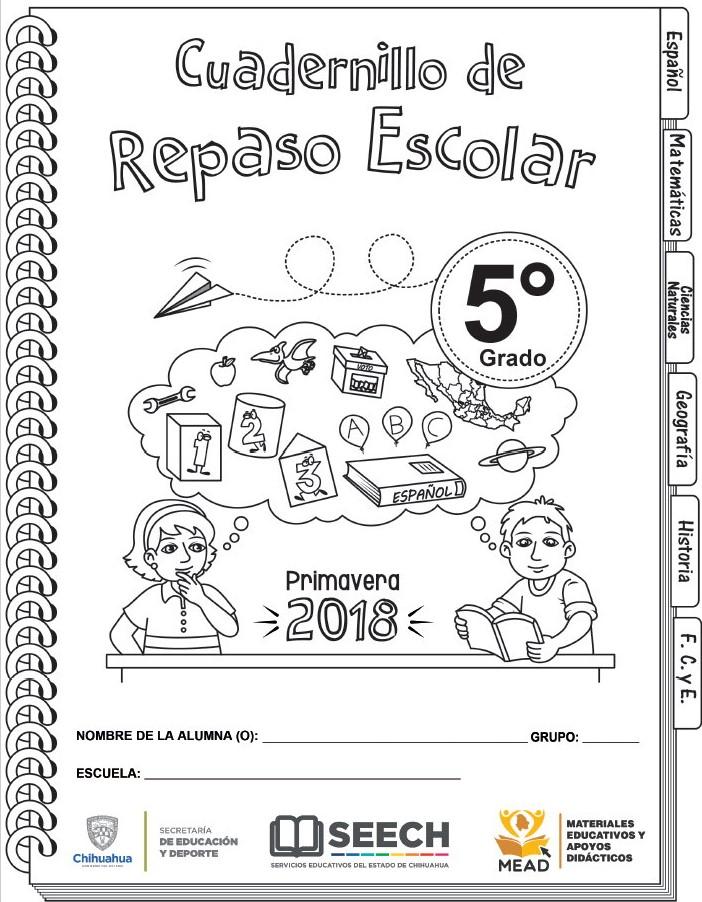 Cuadernillo de repaso escolar del quinto grado de primaria