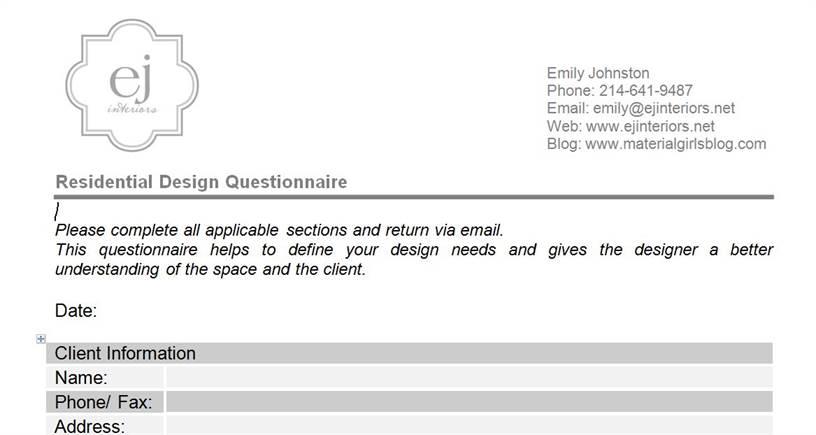 Garden Design Questionnaires For Clients interior design questionnaire for clients