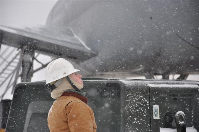 worker in snow
