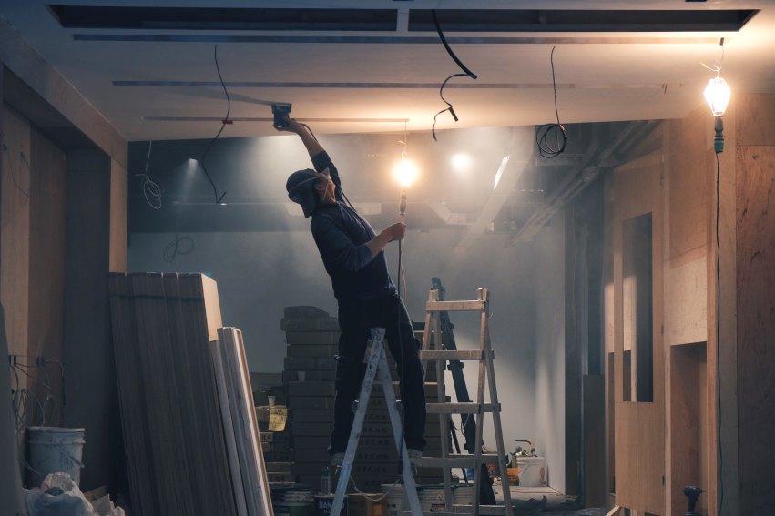 builder in dark