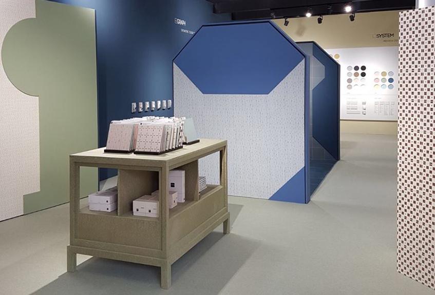 """alt=""""Ceramica Vogue al Cersaie 2017 - progetto di Studio Uda - collezione Confetti"""""""