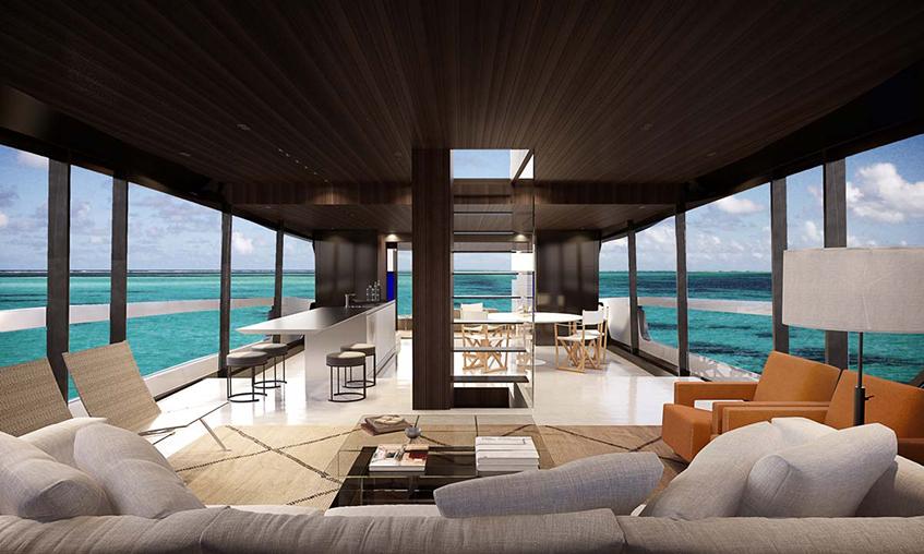 """alt=""""Design sull'acqua - Yacht - progetto di Piero Lissoni - Open space - Sanlorenzo - SX88 - vista del Living"""""""