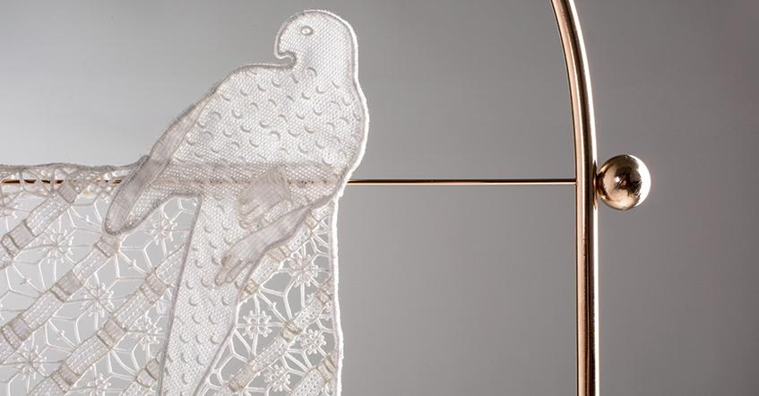 "alt=""India Mahdavi - Doppia firma - Villa Mozart - Lucia Costantini - Merletti  Burano - Bird - Diamonds and stripes"""