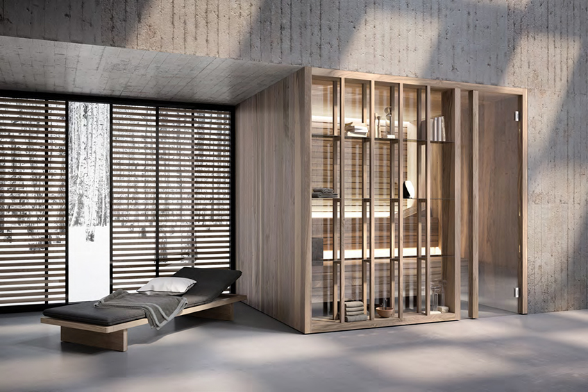 "alt=""Selezionati da Materialiedesign - Sauna YOKU di Effegibi - Vista esterna"""