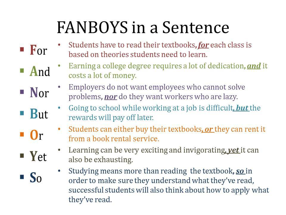 Fanboys In A Sentence – Materials For Learning English