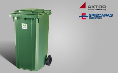 Αποστολή 20 πλαστικών κάδων 240 lt στην εταιρεία SPIECAPAG – AKTΩΡ