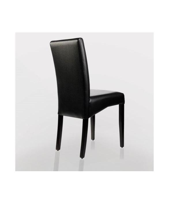 chaise design en bois wenge et simili cuir noir pour hotels restaurants bistro cafe