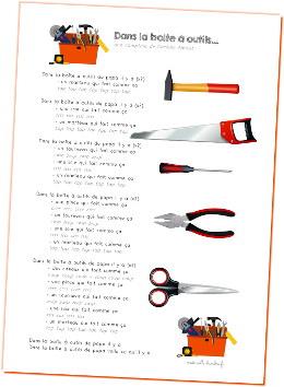 La Boite à Outils De Papa : boite, outils, Boîte, Outils..., Chanson, Gestes, Maternelle, Bambou