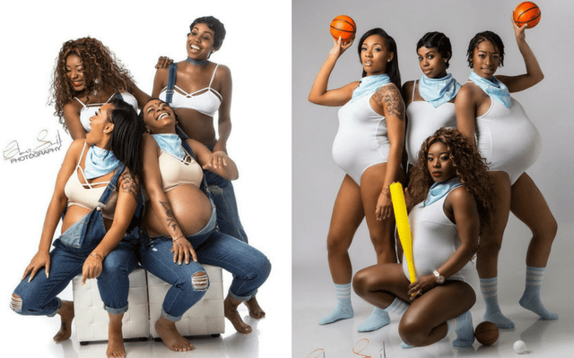 fun maternity photo shoot of four best friends