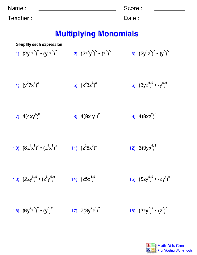 Polynomial Practice Worksheet : polynomial, practice, worksheet, Pre-Algebra, Worksheets, Monomials, Polynomials