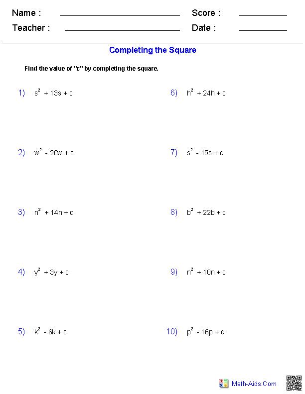 Using The Quadratic Formula Worksheet Answers : using, quadratic, formula, worksheet, answers, Algebra, Worksheets, Quadratic, Functions