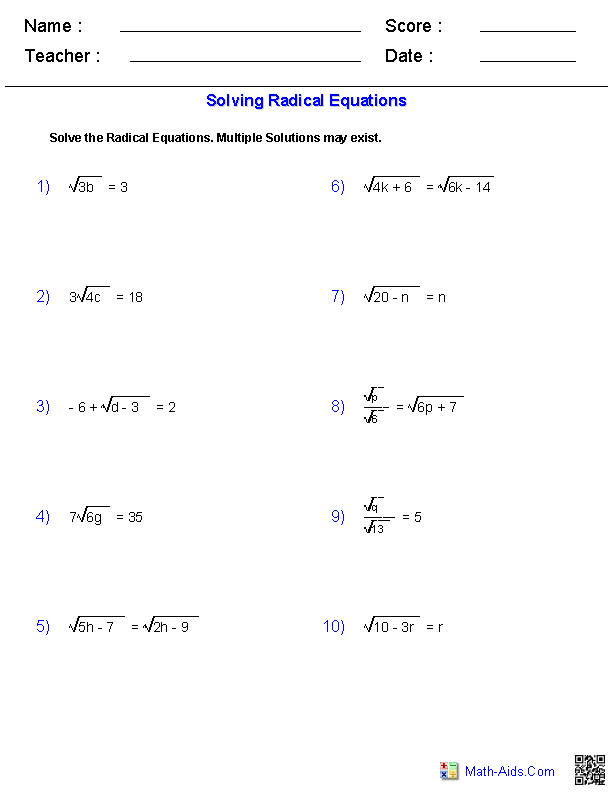 Exponents And Radicals Worksheets  Exponents & Radicals