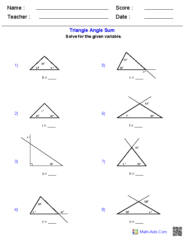 Triangle Sum And Exterior Angle Theorem Worksheet : triangle, exterior, angle, theorem, worksheet, Geometry, Worksheets, Triangle