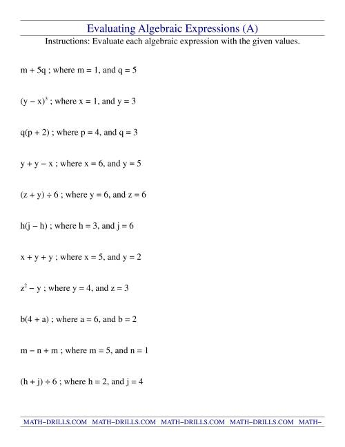 Math Worksheets Algebraic Expressions  Math Variables Worksheet Educational Activitieswrite