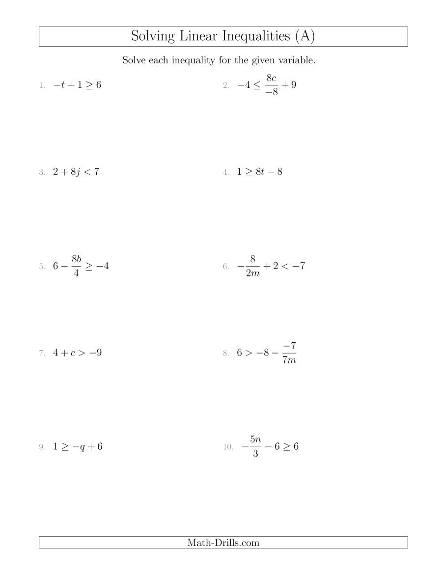 Solving Linear Inequalities Mixed Questions (a