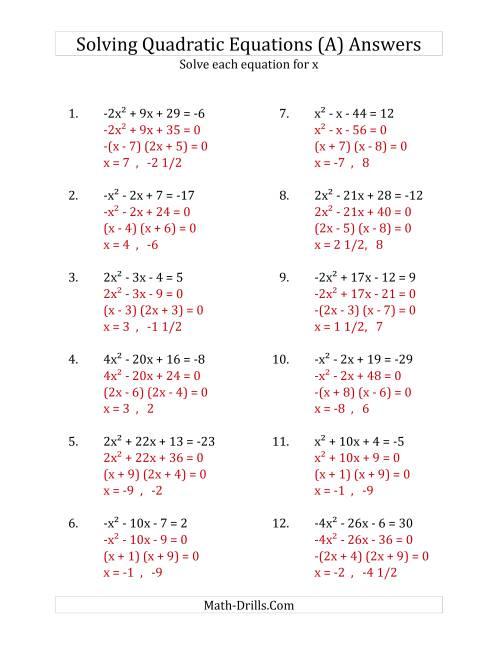 Using The Quadratic Formula Worksheet Answers : using, quadratic, formula, worksheet, answers, Solving, Quadratic, Equations, Worksheet, Answers, Project