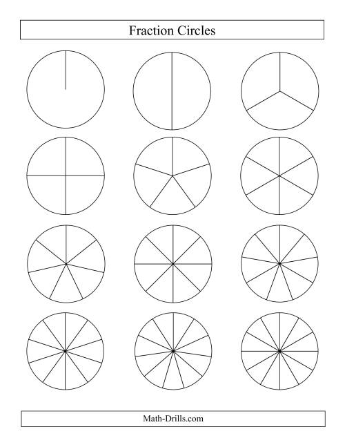 Small Black and White Fraction Circles no Labels (E)