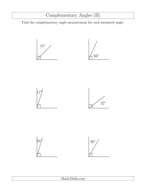 Complementary Angle Relationships (B)