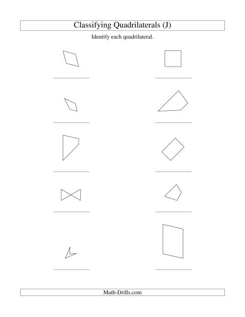 Classifying Quadrilaterals (J) Geometry Worksheet