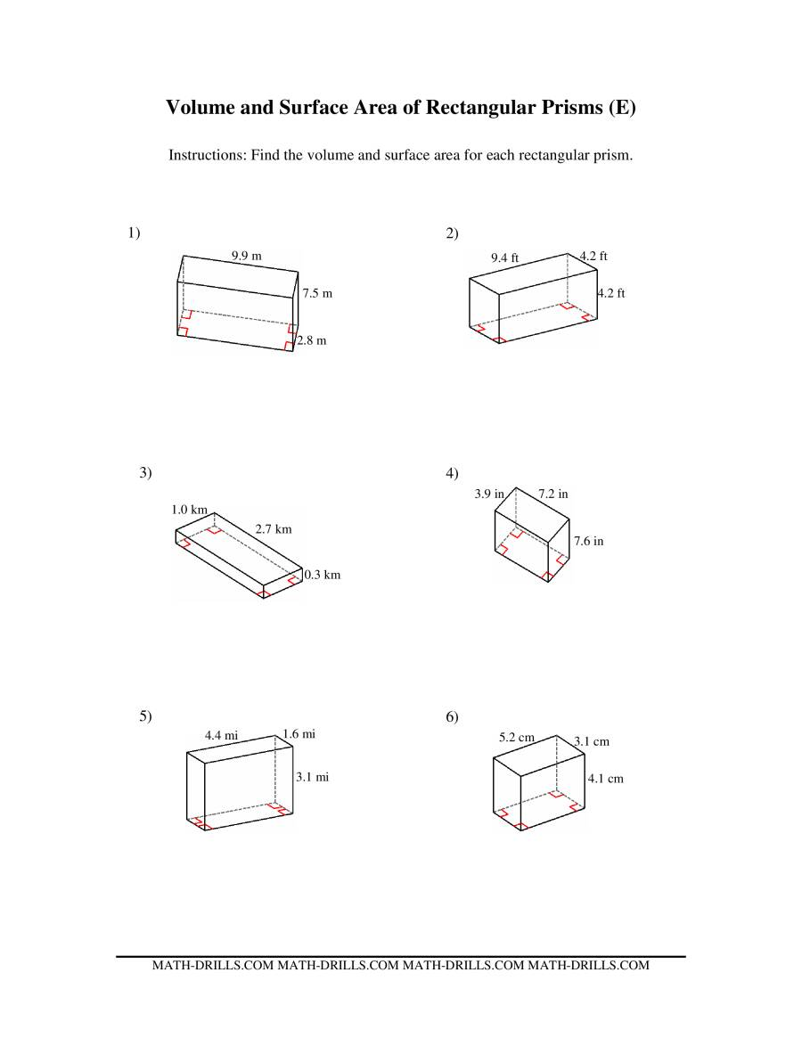 Volume and Surface Area of Rectangular Prisms (E)