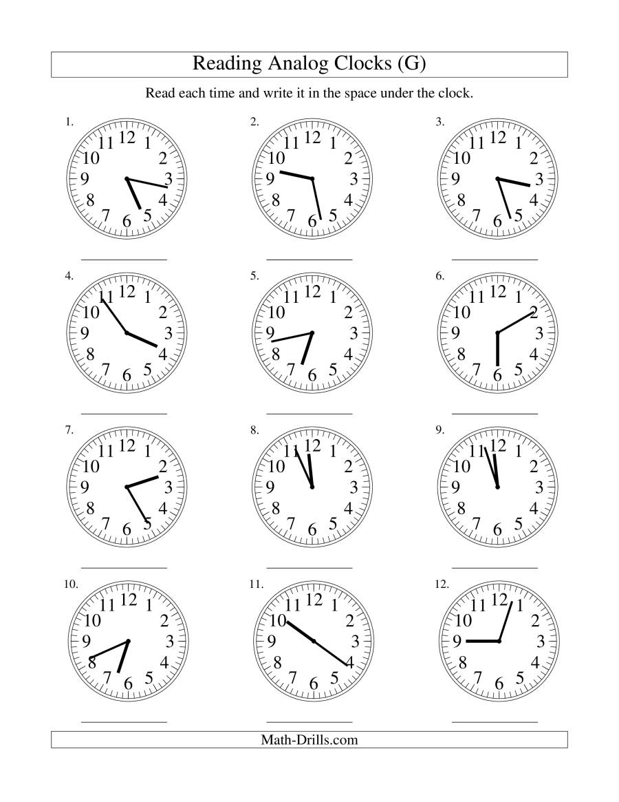 Reading Time on an Analog Clock in 1 Minute Intervals (G)