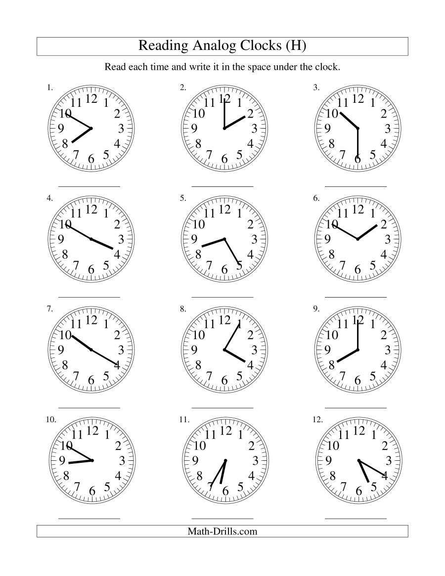 Reading Time on an Analog Clock in 5 Minute Intervals (H)