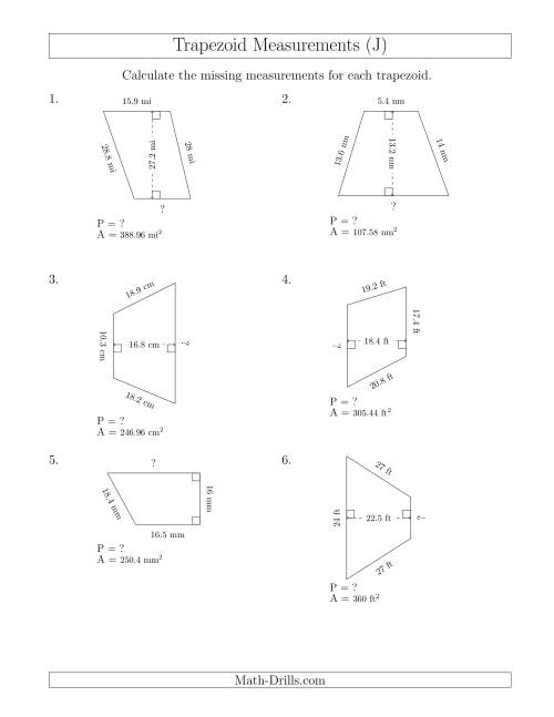 Calculating Bases and Perimeters of Trapezoids (J)