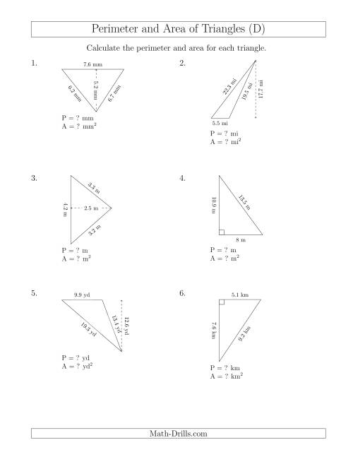 Calculating the Perimeter and Area of Triangles (Rotated