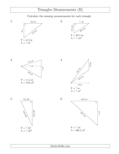 Calculating Various Measurements of Triangles (B)