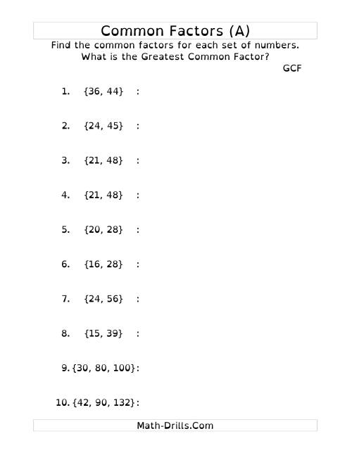 Common Factors And Greatest Common Factor (dy