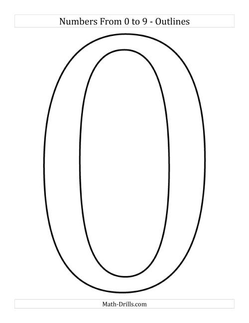 Poster Sized Numbers from 0 to 9 in Outline (All)