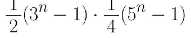 1/2 * (3^n - 1)* 1/4 * (5^n - 1)