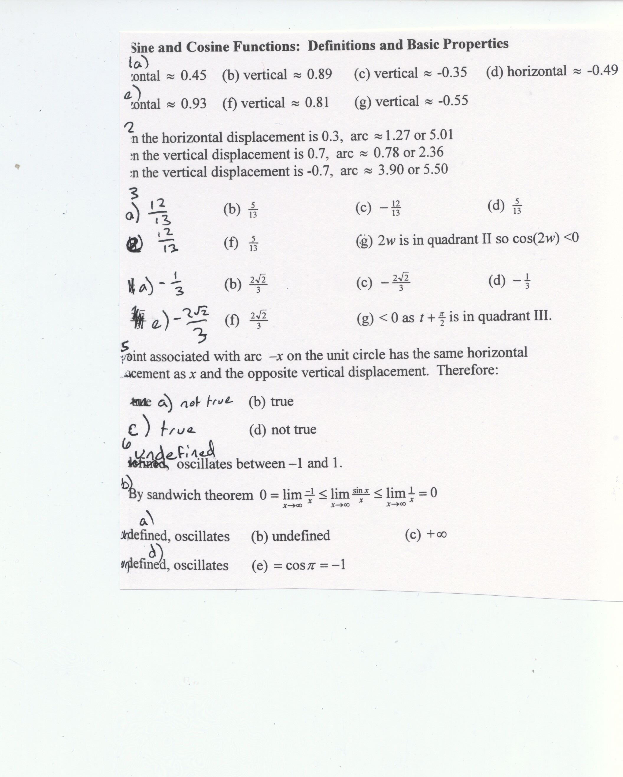 Solving Trig Equations Using The Unit Circle Worksheet