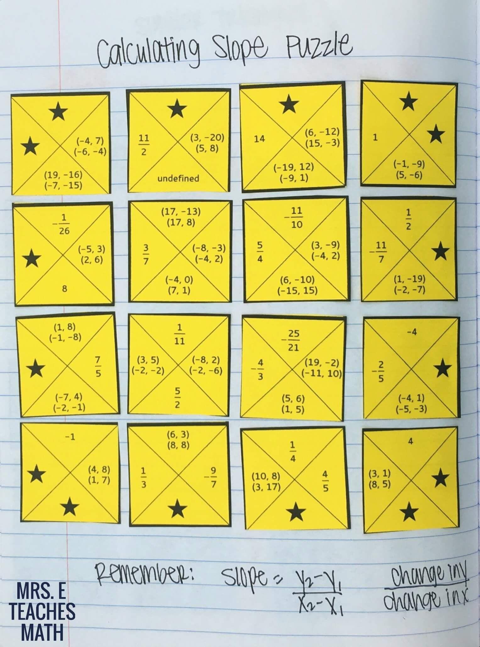 Math Worksheets Finding Slope