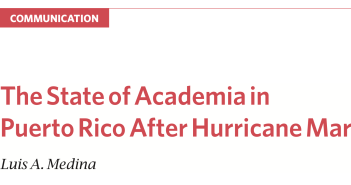 The State of Academia in Puerto Rico After Hurricane María