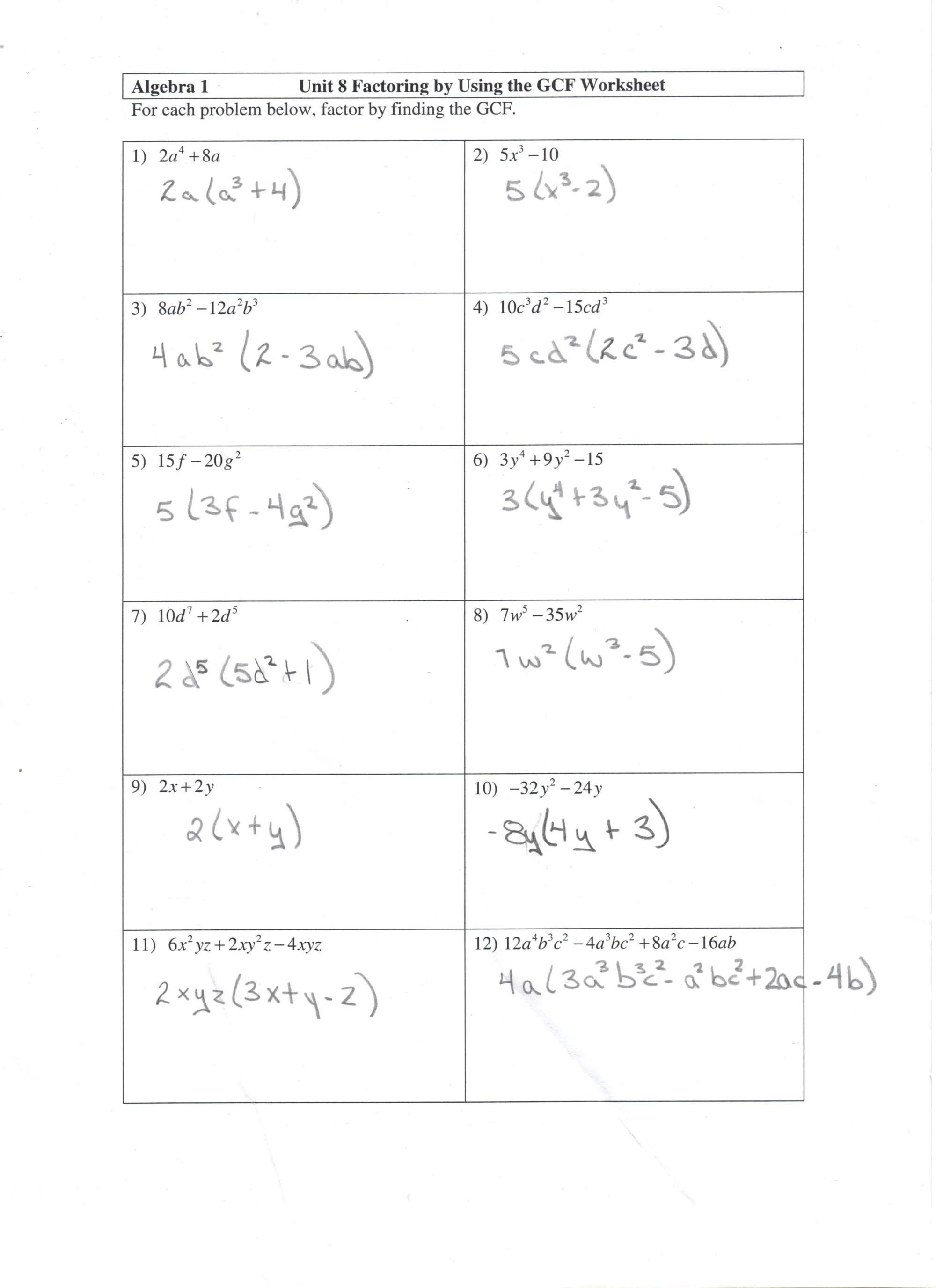 hight resolution of 27 Algebra 1 Unit 8 Factoring By Using The Gcf Worksheet - Free Worksheet  Spreadsheet