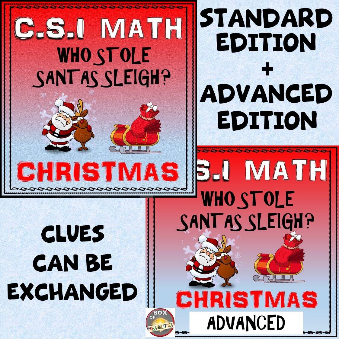 Christmas Csi Math Activity Combined Standard Advanced