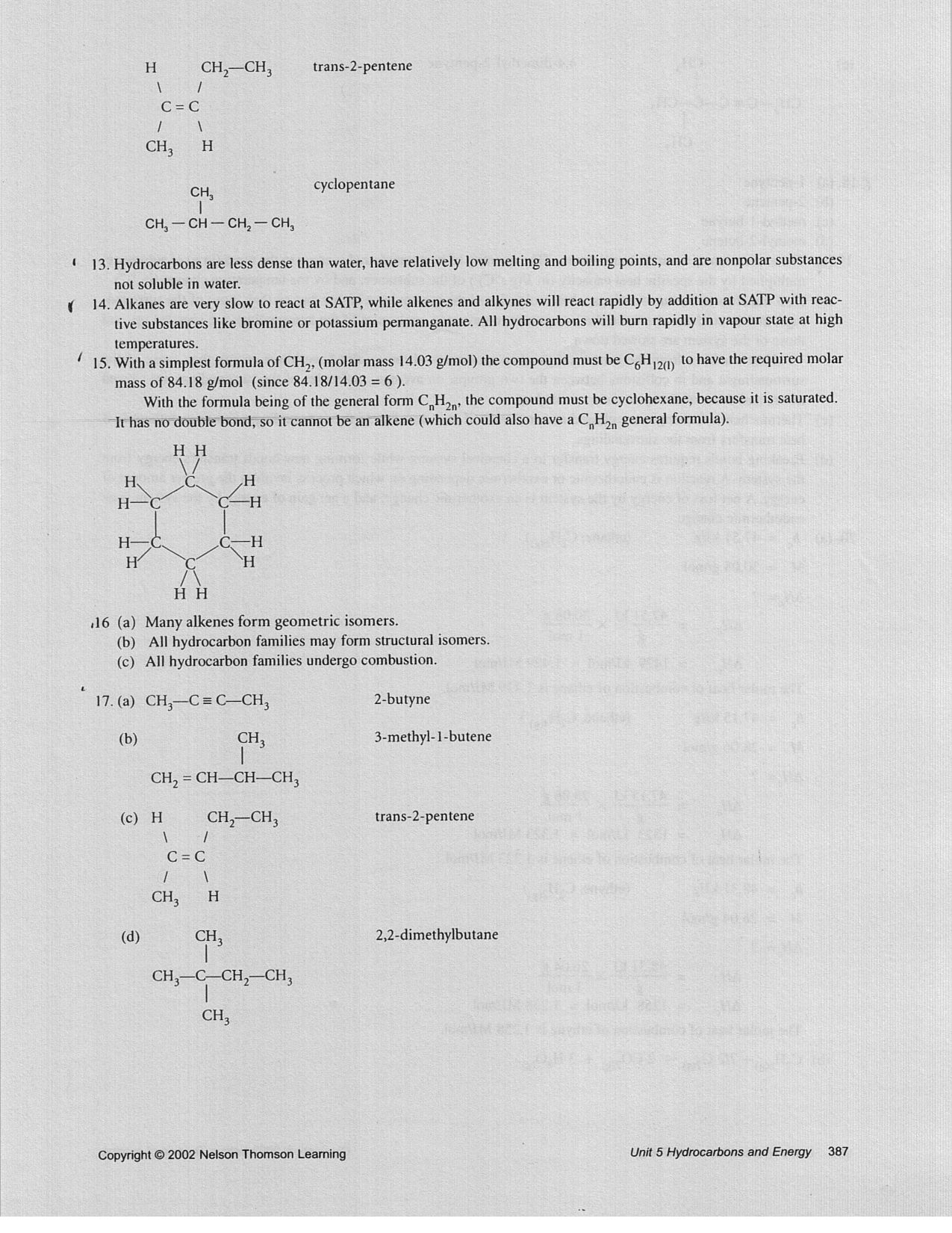 Grade 10 Chemistry Answers