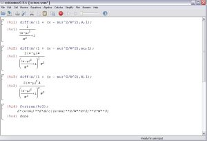 Differentiation of Cauchy Lorentz in Maxima