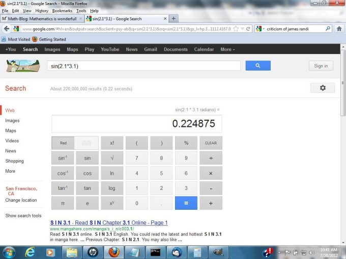 Google Scientific Calculator Full Screen Capture