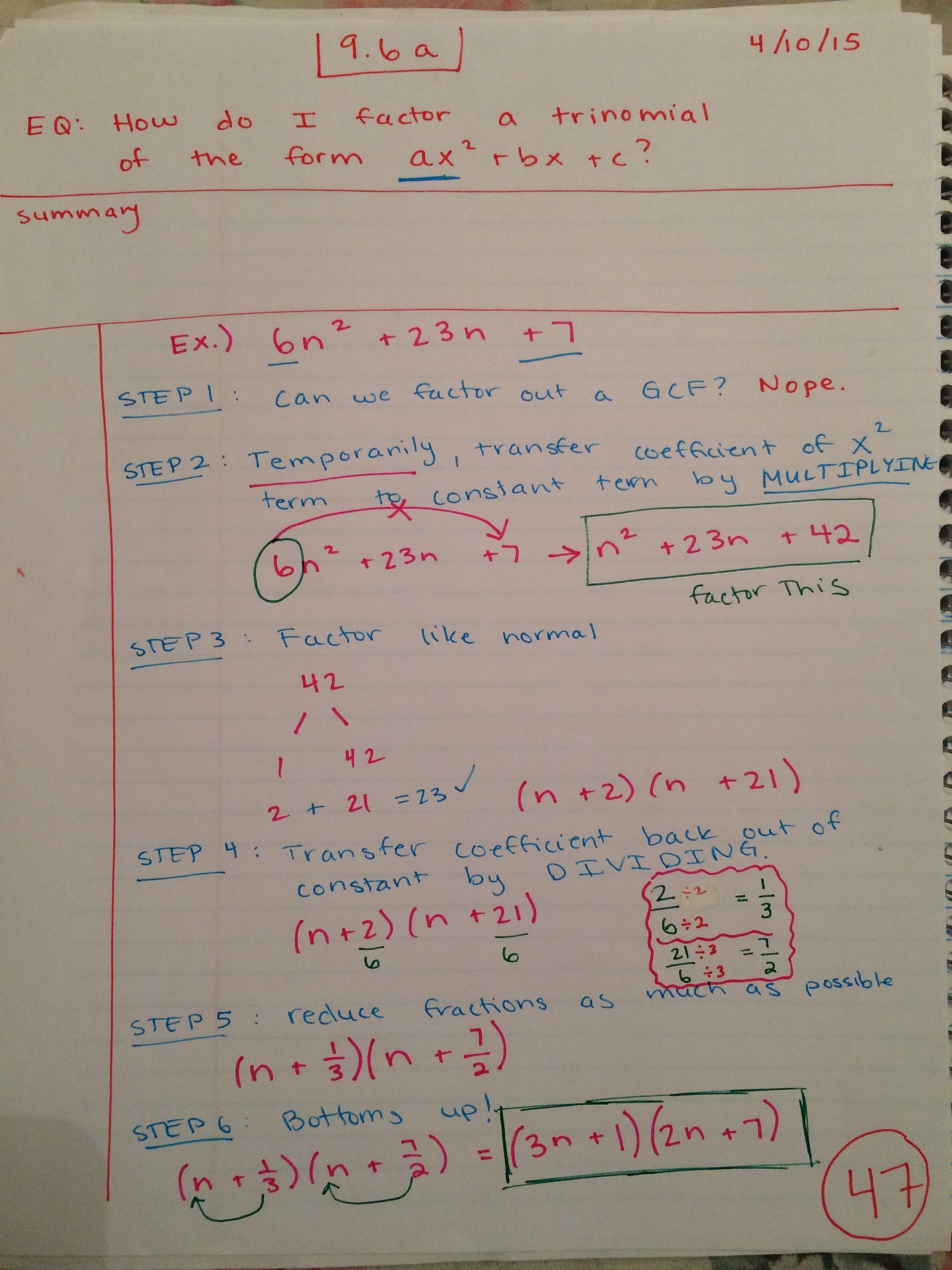 Polynomials And Factoring Interactive Notebook Pages