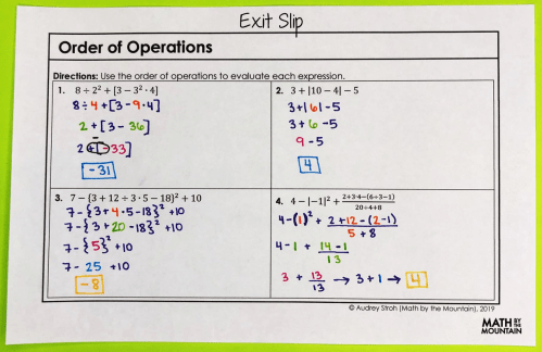 small resolution of Algebra 1 – Unit 1 Interactive Notebook Pages   The Foundations of Algebra  – Math by the Mountain