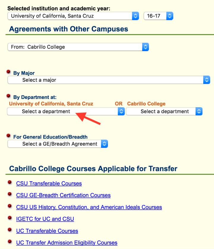 assist choose UCSC department